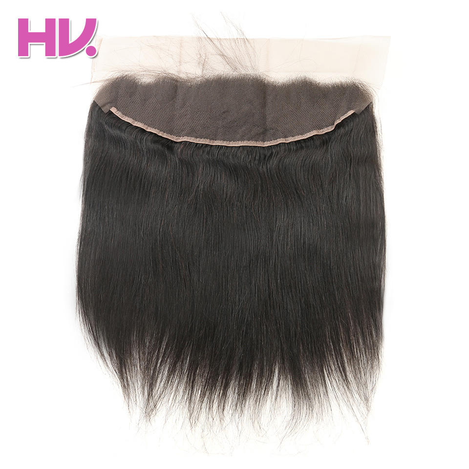 Hair Villa Human Hair 13*4 Swiss Lace Frontal Closure Brazilian Straight Non-Remy Hair 8-20inch Free Part Frontal With Baby Hair