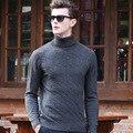 100% homens suéter de lã 2016 Outono inverno nova moda dos homens de alta qualidade listrado pulôveres de gola alta