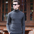 100% wool sweater men 2016 Fall winter high quality fashion new men's striped turtleneck pullovers