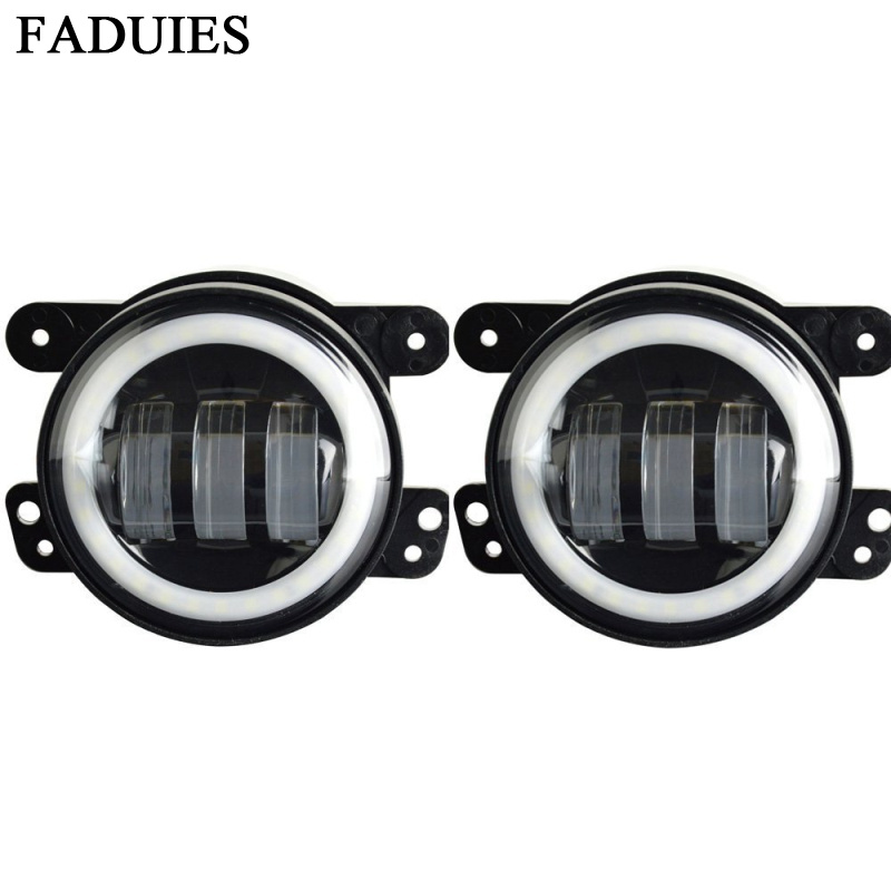 FADUIES 4 Inch Round Led Fog Light Headlight 30W Projector lens With Halo DRL Lamp For Offroad Jeep Wrangler Jk Dodge