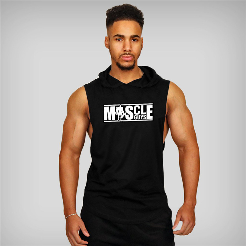 Muscleguys Brand Bodybuilding Stringer Hoodies Gyms sleeveless Hoodie Fitness Tank Top Mens Clothing Cotton Vest Hoodies