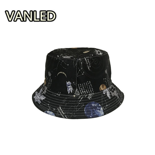 Harajuku Starry Sky Two-sided Hats Summer Sunshade Streetwear Bucket Hat  For Unisex a2983fcd58c