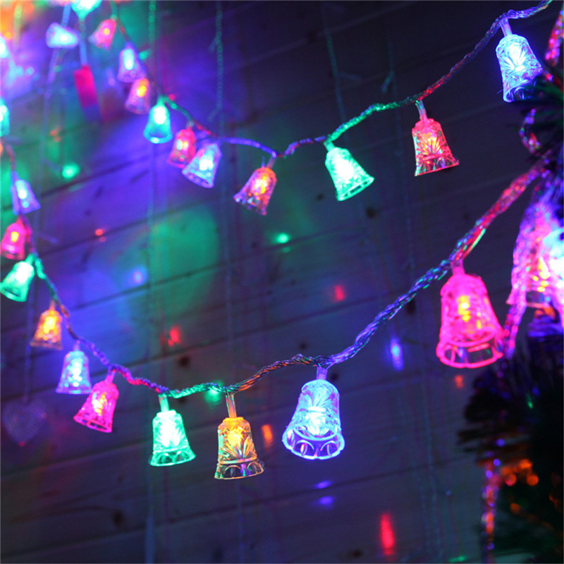 Waterproof Led String Light Jingle Bell Fairy Decoration With Remote 8 Modes Battery Operated Indoor/Outdoor