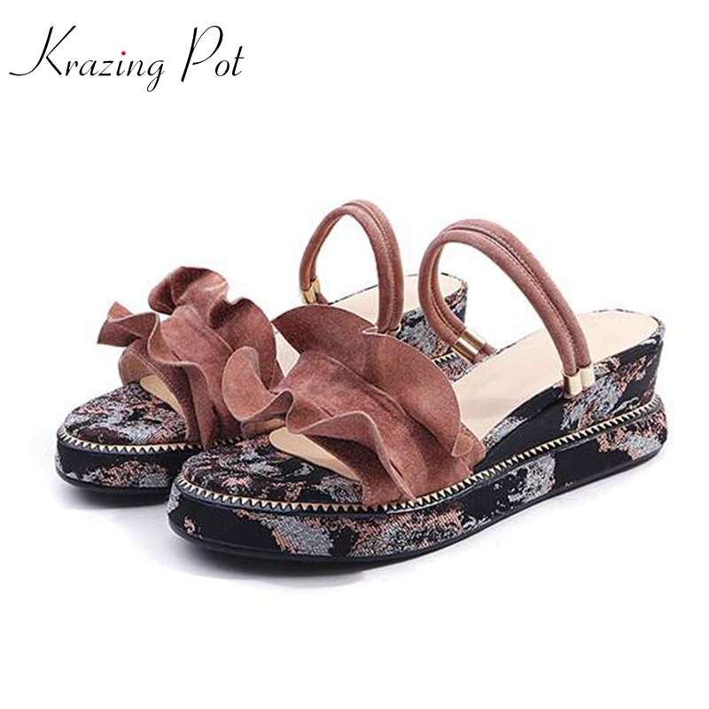 krazing pot sheep suede slip on British style sandals wedges floral leather high heel peep toe