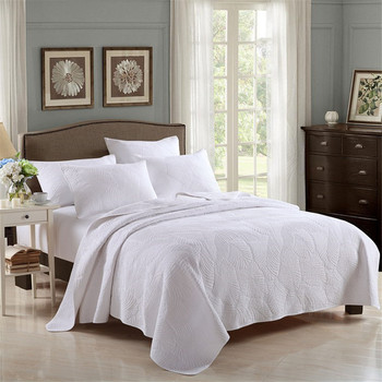 3pcs Embroidery white wedding bedding cover set 100%cotton quilt bedspread palm leaf Europ style pillowcases beige home textile