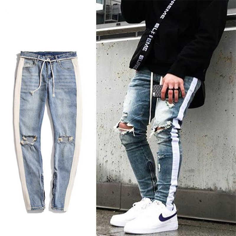 396e6db4 Men blue & black hip hop Knee Ripped Skinny Jeans Streetwear White strip  stitching Ankle zipper