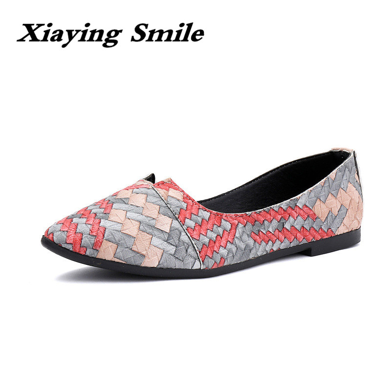 Xiaying Smile Flats Shoes Women Boat Shoes Spring Summer Office Casual Loafers Slip On Pointed Toe Shallow Rubber Women Shoes xiaying smile woman flats women brogue shoes loafers spring summer casual slip on round toe rubber new black white women shoes