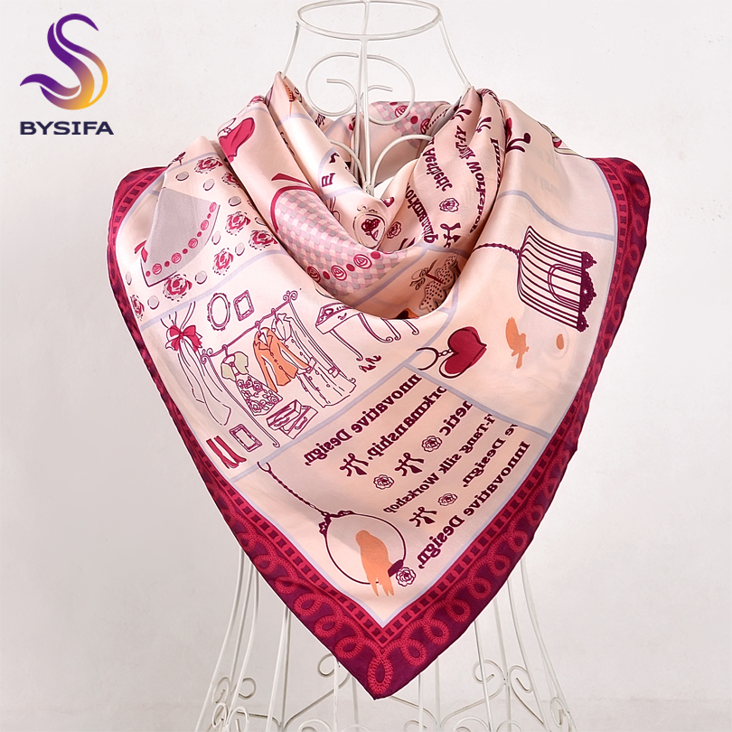 BYSIFA Women Letters Twill   Scarves     Wraps   2018 New Arrival Fashion Element Square Silk   Scarf   Shawl Printed 90*90cm Spring   Scarf