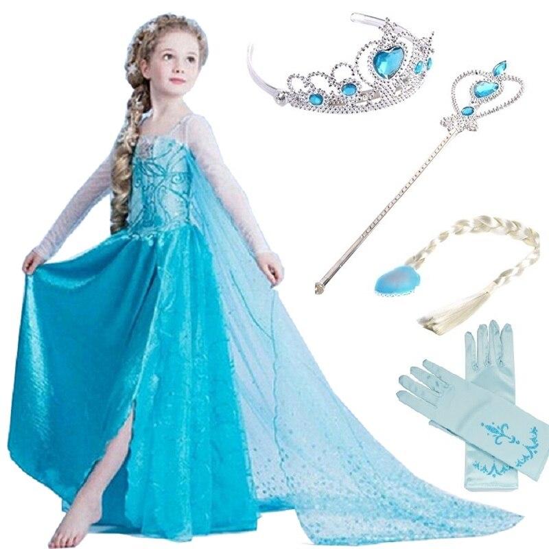 Girls Snow Queen Costume Blue Elsa Snow Princess Dress Up