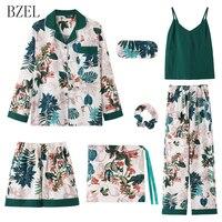 BZEL Women Clothes 7 piece Set Sleepwear Long Sleeve Cotton Pajama Floral Sleep Lounge Sexy Pijama Mujer Pyjamas Women Underwear