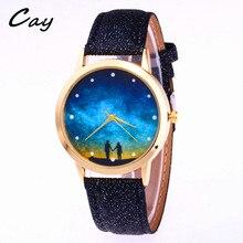 CayTop модный бренд Пара Печать кварцевые часы для девочек Для женщин кожа кристалл наручные часы Horloges Vrouwen Curren