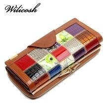 Wilicosh Fashion Genuine Leather Women Wallets Patchwork Hasp Coin Purse Female Clutch Bag 3 Fold Lady Card Holders YF352