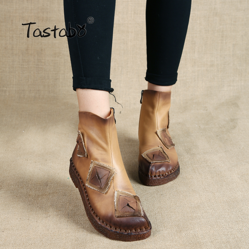 где купить Tastabo Fashion Martin boots shoes folk style retro flat boots women Handmade casual shoe Winter Ankle Boots botines mujer по лучшей цене