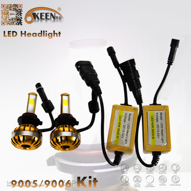 40W 3600Lm IP65 Car Motorcycle LED Headlight Kit 6000K White Bulb H1 H3 H4 H7 9005 9006 Epistar COB Aluminum Fan Low High Beam