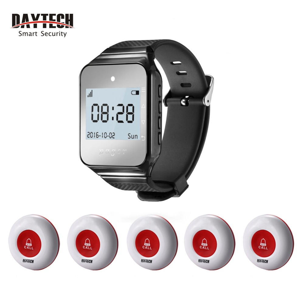 DAYTECH Wireless Calling System 1 pc 433 MHZ Watch Pager 5 pcs Waterproof Call Button Restaurant Waiter Call Pager restaurant kitchen call system k 999 302 with 1 pcs keypad and 1 pcs display showing 2 digit number