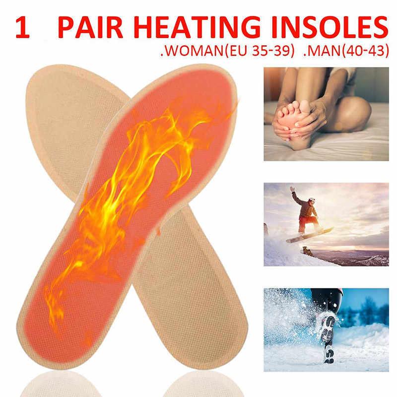 1 par de plantillas de calentamiento automático de invierno plantillas de calefacción caliente calentador de pie hombre almohadilla de calefacción