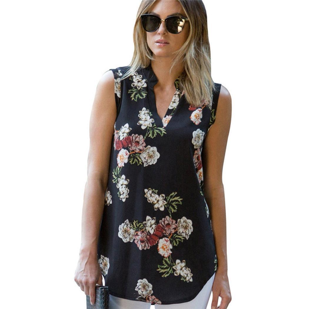Women V-neck Printed Chiffon Blouse Sleeveless Slim Fashion Floral Tank Casual None Top Neck(China)