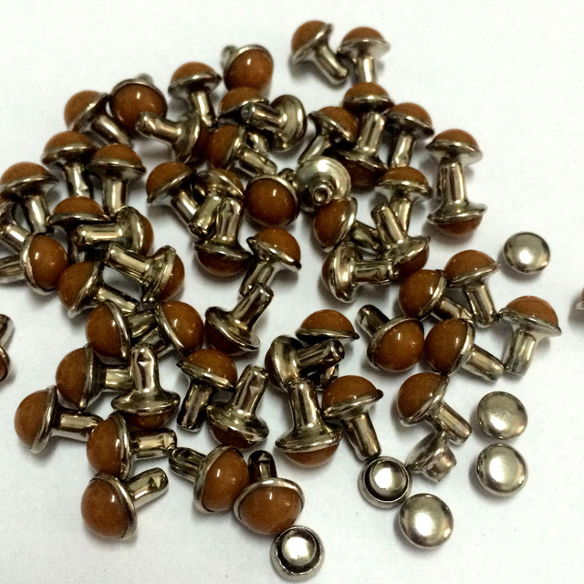 100PCS Lot 6.5mm Round Brown Acrylic Rivets Leather Craft Punk Studs Fit  DIY Making Belts Shoes Bag Bracelets Shipping Free b95aaf89843d