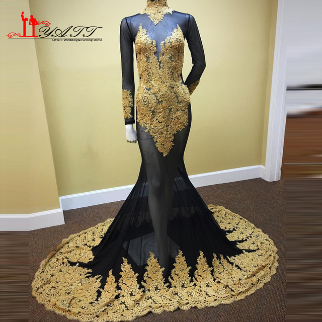 fbed809ab61 Liyatt Sexy Sheer African Gold Evening Prom Dresses 2K17 Mermaid Appliques  Beaded Lace Evening Gown Black Girl Long Sleeve Gown