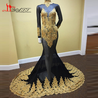 Liyatt Sexy Sheer African Gold Evening Prom Dresses 2K17 Mermaid Appliques Beaded Lace Evening Gown Black Girl Long Sleeve Gown