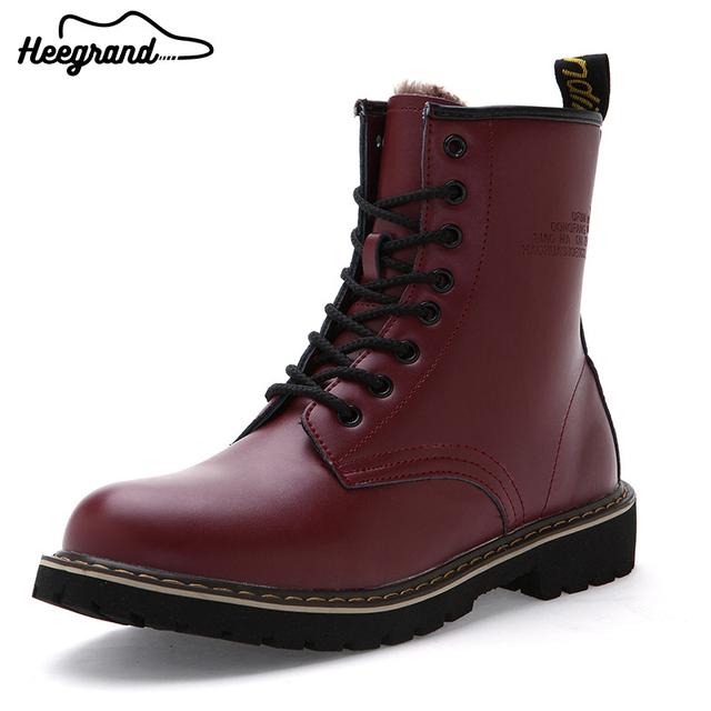 Hee grand hombres botas otoño invierno estilo casual 2017 moda color sólido cómodo con cordones de los hombres botas de nieve caliente xmx783