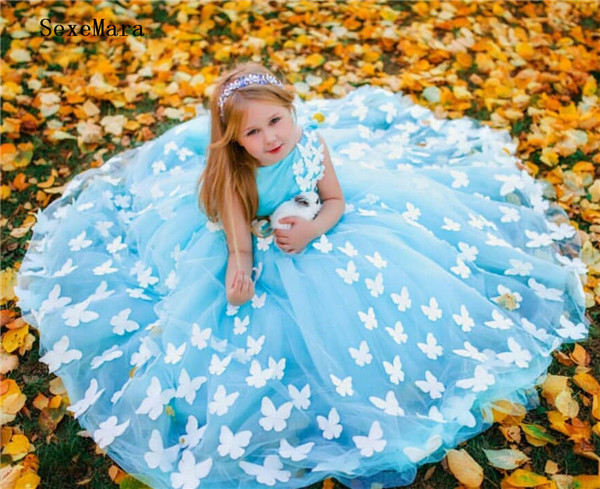 Lovely Tulle   Flower     Girl     Dress   with Butterflies Beading For Special Occasion New Long   Girls   Pageant Gowns Custom Made Backless