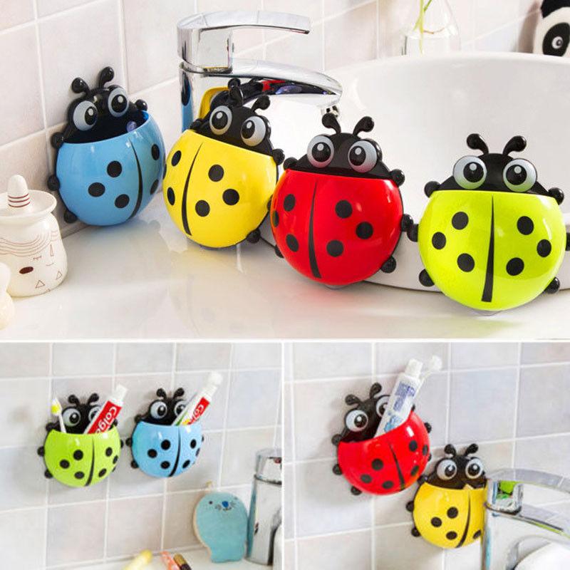 Novelty Bathroom Set Sanitary Kids Ladybug Wall Mounted Toothbrush Holder Cartoon Animal Brush Holder With Suction Cup Newest