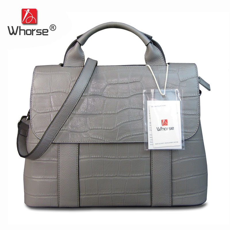 [WHORSE] Brand Logo Designer Brand New Genuine Cow Leather Women Ladies Crocodile Pattern Handbag Shoulder Bag Messenger Bags стоимость