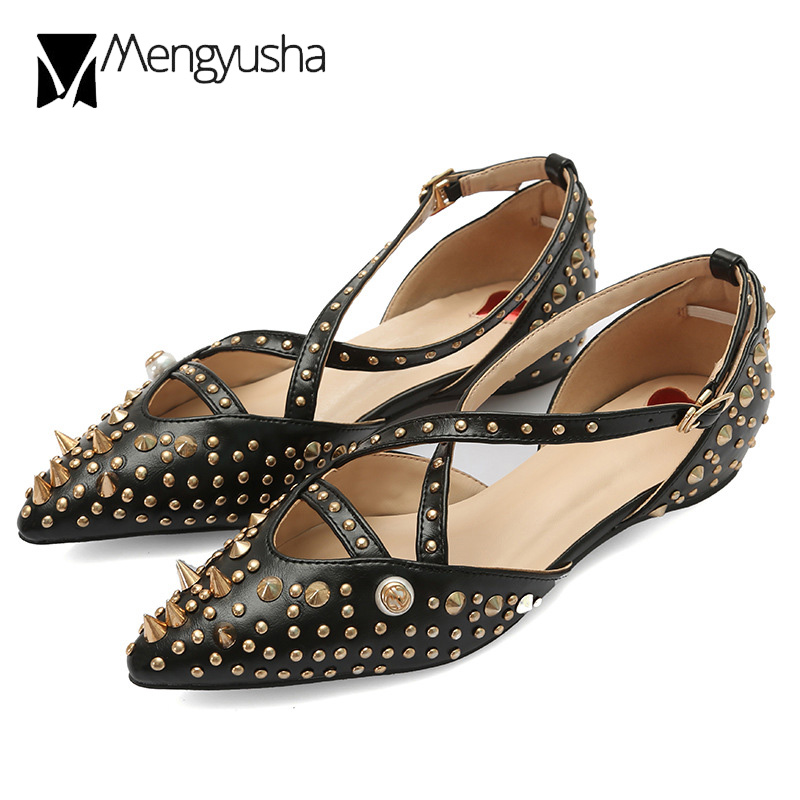 c537b8ce9e Cross-tied cutout flats woman spring summer fashion shoes 2018 european  studs decoration creepers
