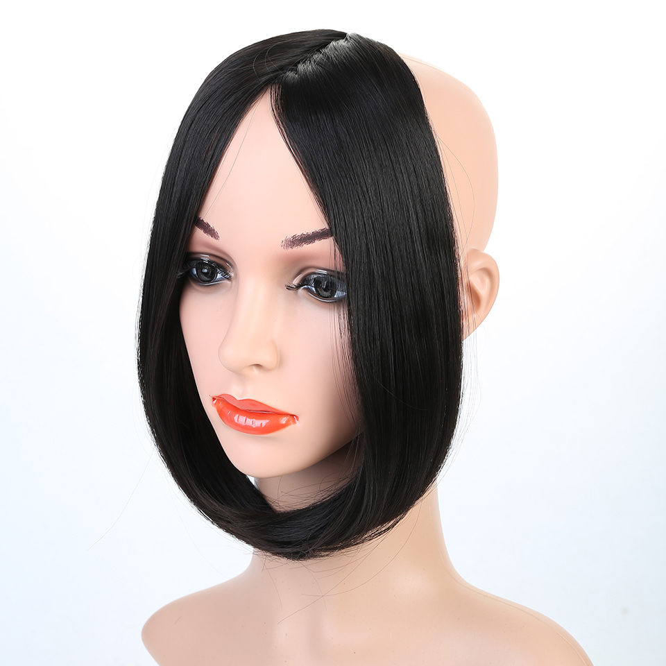 JINKAILI Synthetic Hair Bangs Women Hair Middle Part Long Straight Bangs For Women Natural Fake Hair Bangs Heat Resistant
