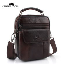 VANTER OX Genuine Cowhide Leather Shoulder Bag Small Messenger Bags Men Travel Crossbody Bag Handbags New Fashion Men Bag Flap new genuine leather waist belt bag men leather shoulder men chest bags fashion travel crossbodys bag man messenger bag male flap