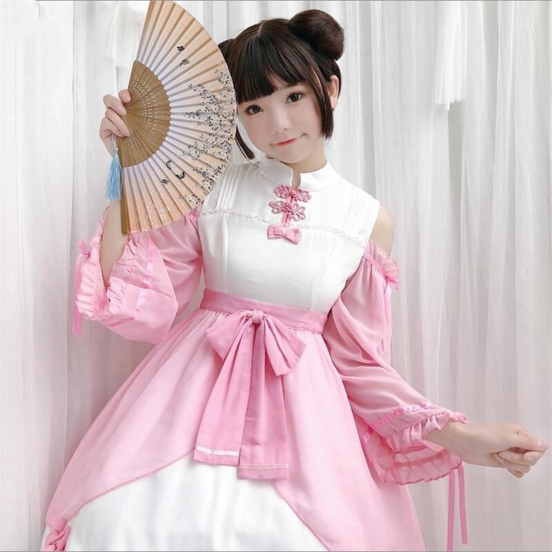 Mignon Lolita en mousseline de soie bouton chinois épaule dénudée princesse à manches longues robe douce soeur Han éléments Bowknot OP robe 2 couleurs