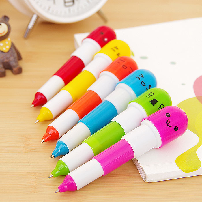 6pcs Cute Lady Telescopic Stationery Smiling Favor Pill Ball Point Pen