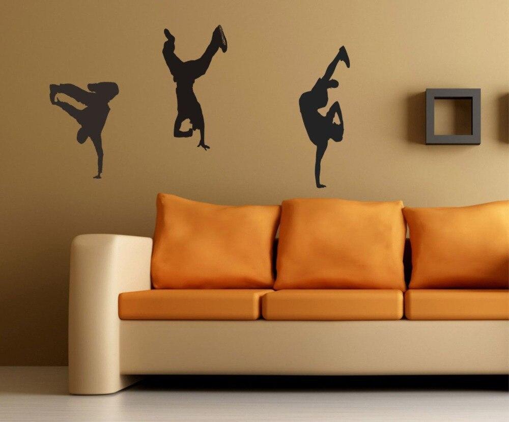 Breakdance Stickers Muraux amovible danseur autocollants bboy Hip Hop Rap breakdance