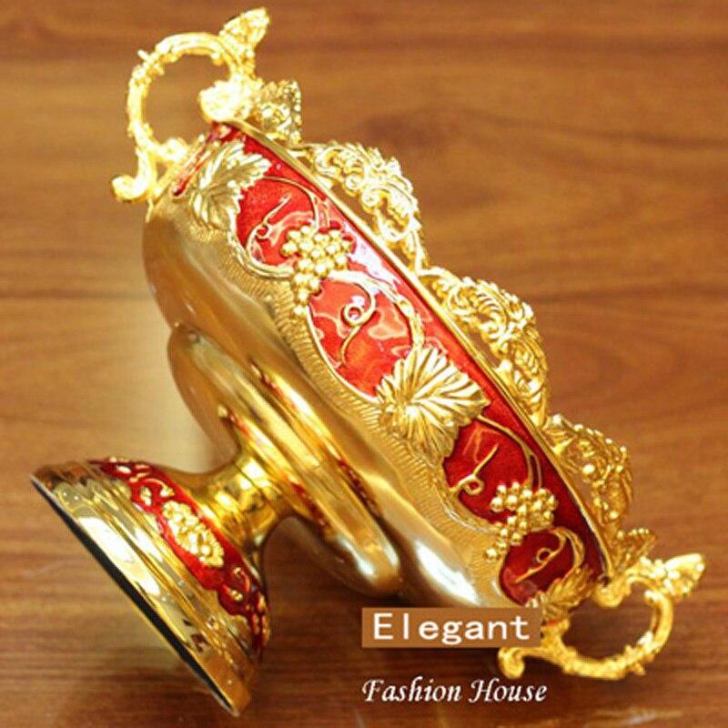 Nouveau Brillant D'or Plaqué Fruits Plat Avec Poignée Assiette À Dessert doux Plats Époxy Fruits Rack Plaques Pour Le Mariage Ou Partie 21X15X8 CM - 5