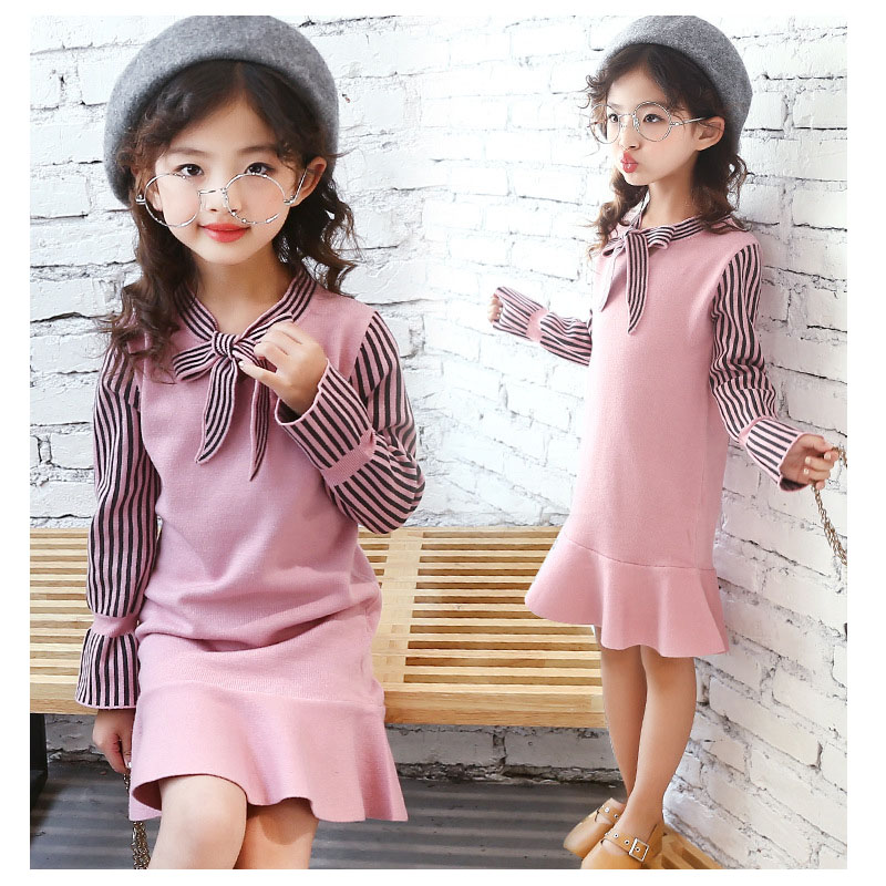 2018 College wind knitted girls dress long-sleeved spring and autumn sweater children's clothing dress size 4-14 years old 7 2017 spring and summer fashion girls clothing europe and the united states wind dress long sleeved lace princess peng peng dress