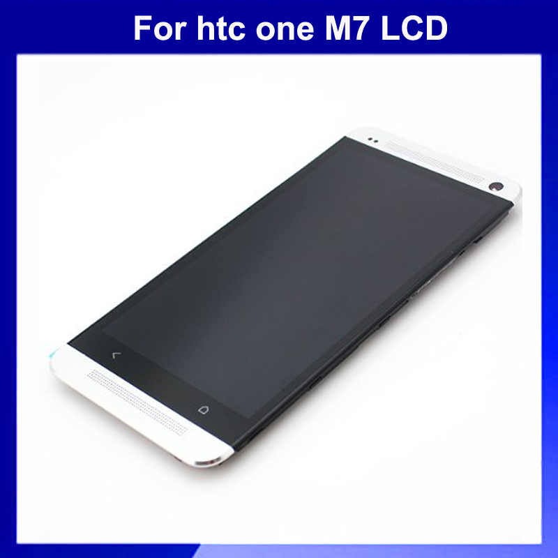 ФОТО Brand NEW Frame+Full lcd display + Touch screen assembly for HTC One M7 801E Replacement LCD white