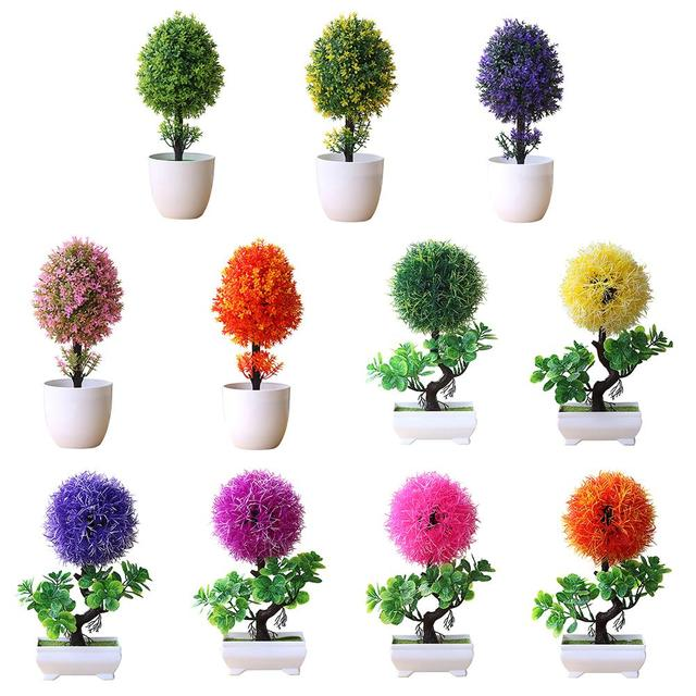 Artificial Small Evergreen Tree Grass Ball Plant Fake Potted Home
