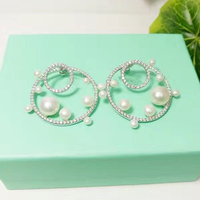 Designer Fashion 925 Sterling Silver Jewelry 3A Cubic Zirconia Party Shell Pearl Earring