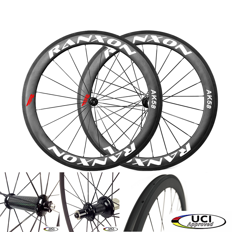 Ranxon UCI Approved Road Bike Racing team Bicycle wheelset straight pull Hub 60mm Depth Profile Clincher Carbon wheels 1350g 38mm clincher straight pull racing road bike carbon wheels bicycle carbon wheelset for r36 hub