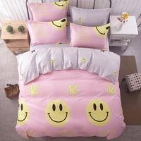 Gülümseme/yatak seti çocuklar Pamuk çarşaf + nevresim + çarşaf tam kraliçe/süper kral yatak için kızlar