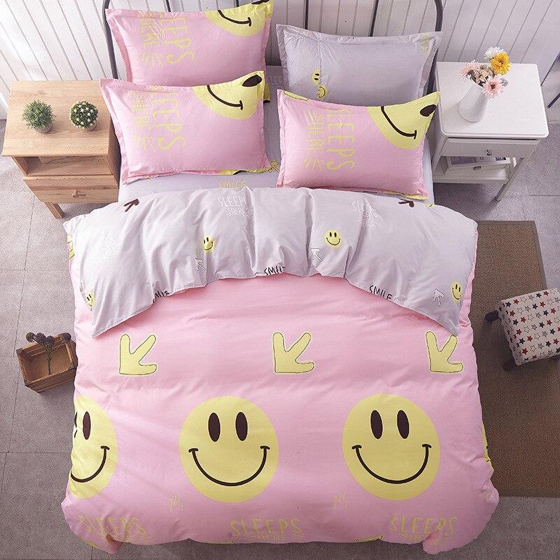 Smile / bedding set kids Cotton <font><b>bed</b></font> sheet +duvet cover + pillowcases full queen / super king <font><b>size</b></font> bedding for girls