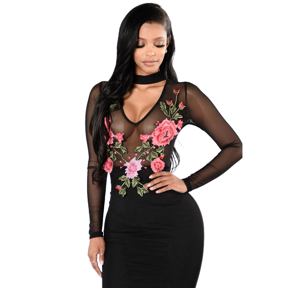 2017 New Vestidos Do Festa Casual Dress Celeb Bodycon Midi Pencil Dress  Long Sleeve Autumn Dress Sexy Party Bandage Dress -in Dresses from Women s  Clothing ... 516d37cfd107