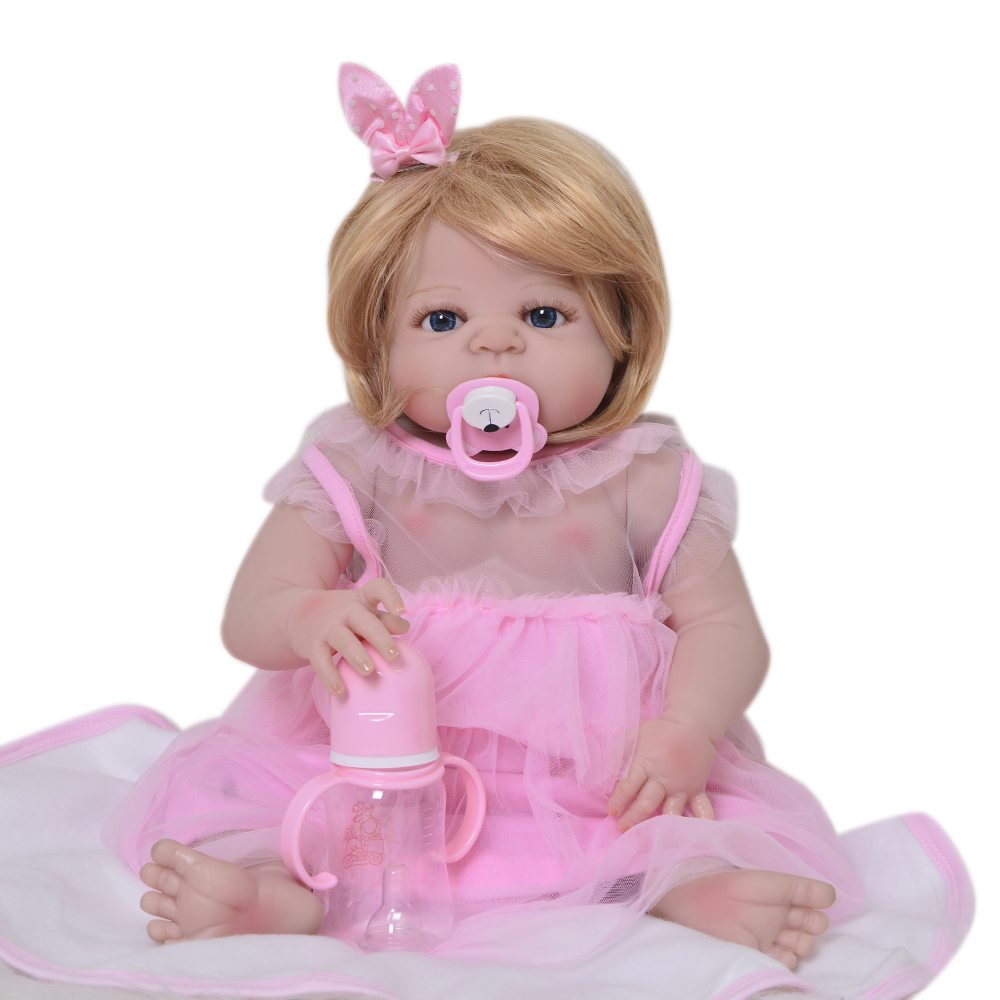 23 New Style Bebe Reborn Doll 57cm Full Silicone Body Blond Wig Lifelike Princess Baby Doll Toy For Kid Best Playmate XMAS Gift 22 58cm rebirth doll soft silicone eva matryoshka doll princess reborn domino dress blond kid christmas gift