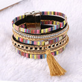 Магнитные Кожаные браслеты и браслеты Чешские Boho Многослойные Браслеты Ювелирные Изделия для Женщин Мужская Парфюмерия