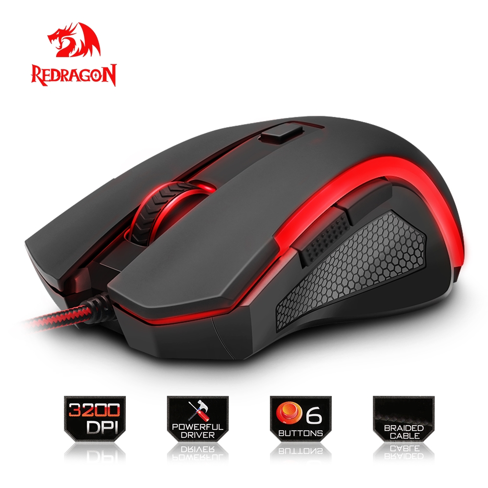 Redragon high quality USB Gaming Mouse 3200 DPI 6 buttons ergonomic design for desktop computer accessories