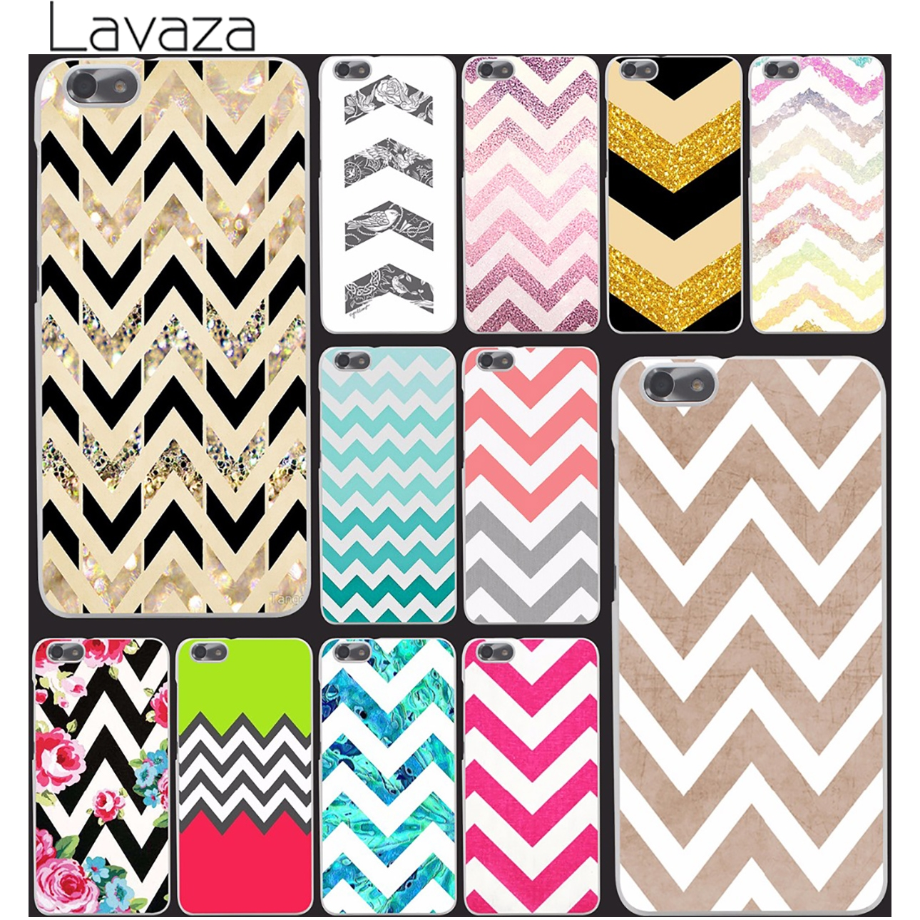 stripe gold glitter chevron wave Wavy pattern Hard Case Cover for Huawei P6 P7 P8 Lite P9 Lite Plus & Honor 6 7 4C 4X G7 print