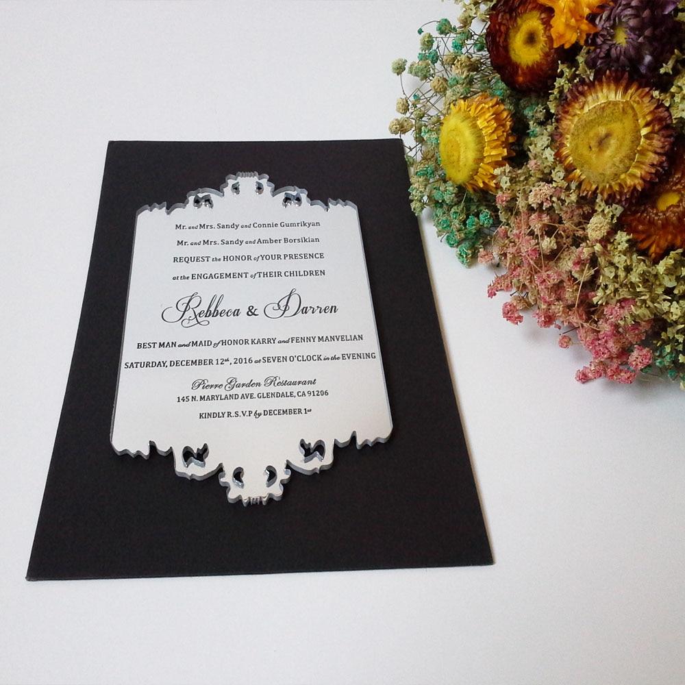 Indywidualna próbka srebrnej lustrzanej akrylowej karty zaproszenia - Materiały świąteczne