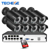 Techege 8CH NVR 48V POE 1080P CCTV System Onvif P2P 2MP HD IP Camera Outdoor Waterproof
