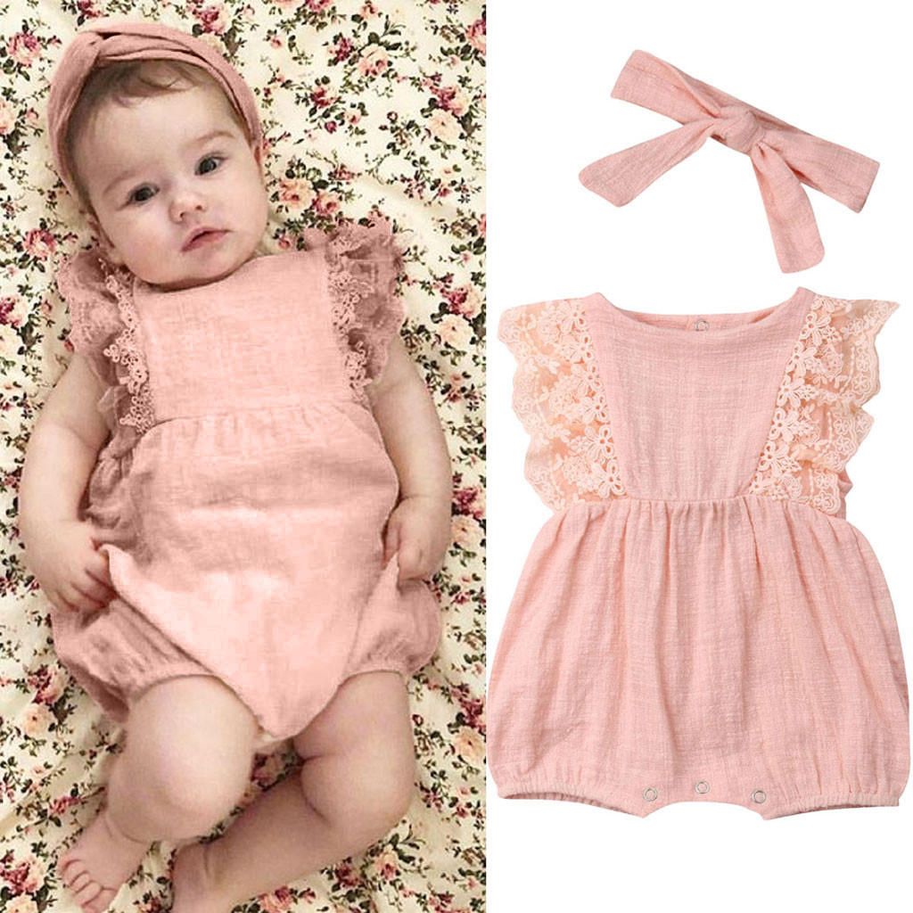 Newborn Baby Girl Clothes Cute Summer Kids Lace Ruffled Linen Romper Hair Band Outfits Carters Baby Girl Ropa Recien Nacido